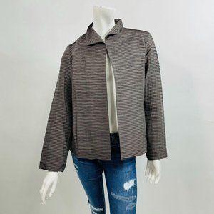 Eileen Fisher Gray 100% SIlk Textured Jacket